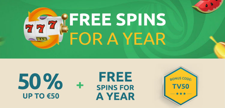 free spins for a year bonus